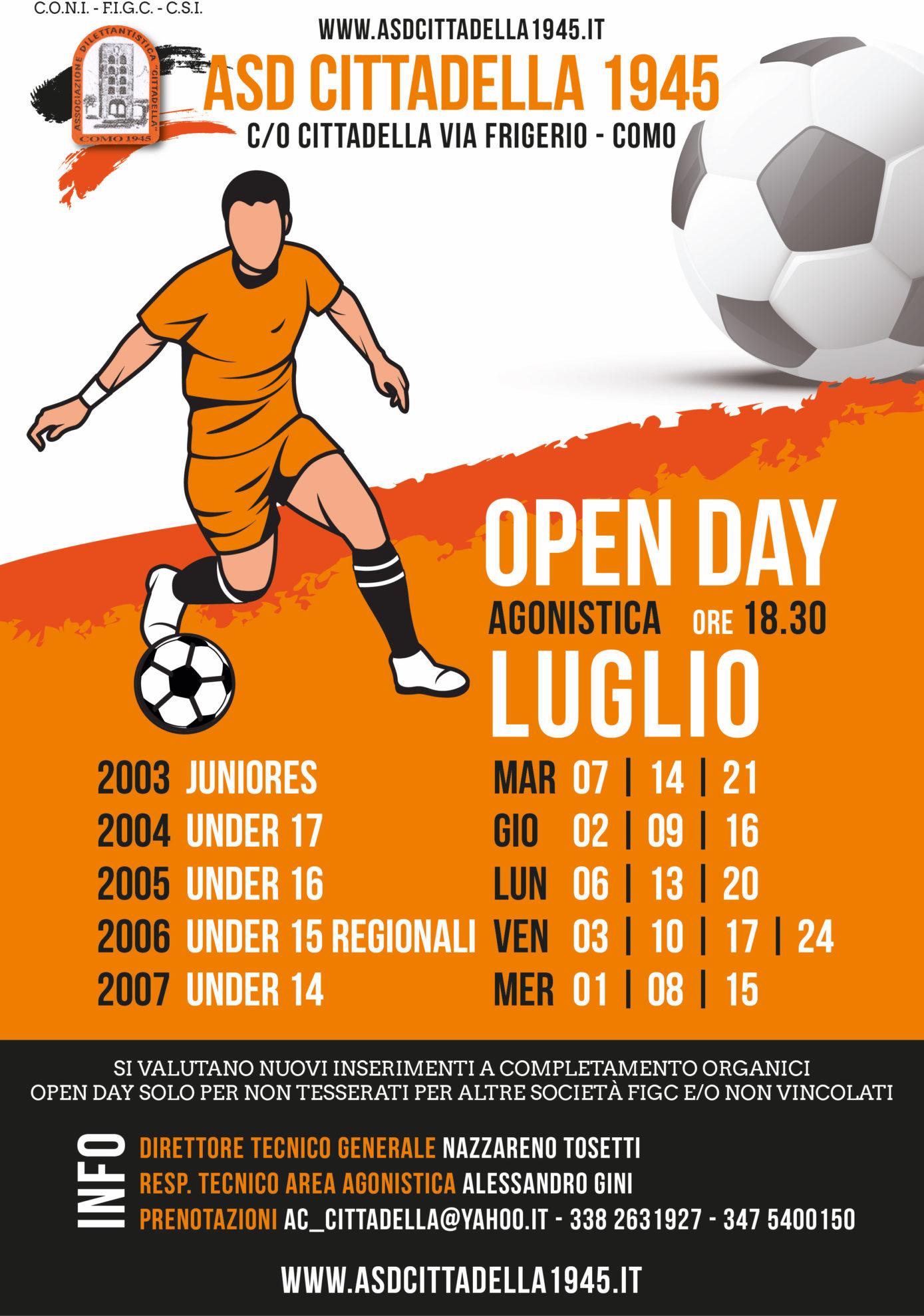 OPEN DAY Cittadella AGONISTICA 2O020 2021